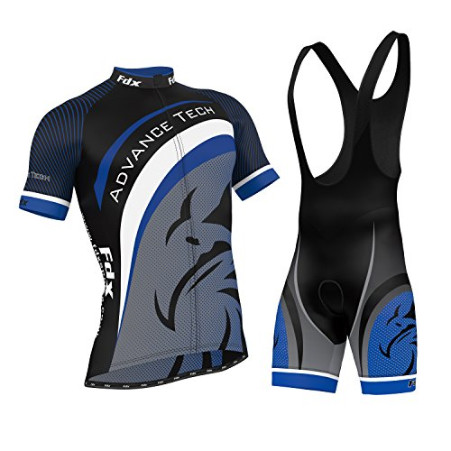 FDX Mens Cycling Jersey Team Cycling Clothing Jersey Bib Shorts Kit Shirt Sets (Large)