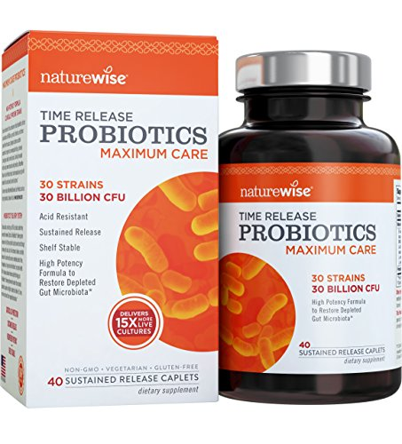 Probiotics, Time Release, Maximum Care, 30 Billion CFU, Caplets - NatureWise … (40 Caplets) Test