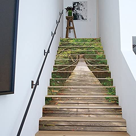 Buluke 13 pcs/diy 3D HOLZ Brücke Wald Muster Treppen Aufkleber Home Eingerichtet