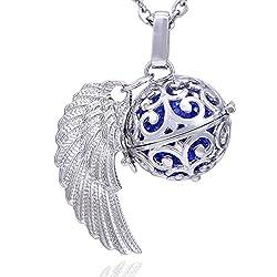 Morella collar ángel de la guarda de acero inoxidable 70 cm con colgante alas de ángel y bola de resonancia de circonita de color azul Ø 16 mm para damas en bolsa para joyas