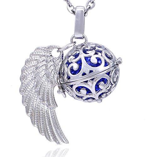 Morella Damen Schutzengel Halskette Edelstahl 70 cm mit Anhänger Engelsflügel und Klangkugel Zirkonia blau Ø 16 mm in Schmuckbeutel