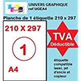 UniversGraphique, 100 Etichette Adesive A4, Colore Bianco, 210 x 297 mm, Ref UGEA4