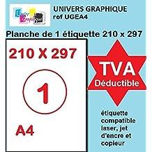 Univers Graphique - UGEA4 - 100hojas tamaño A4 depapel adhesivo blanco–Etiqueta autoadhesiva de 210x 297mm–Página adhesiva permanente