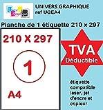 100 feuilles A4 papier adhésif blanc Étiquette autocollante 210 x 297 mm planche...
