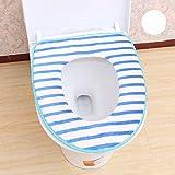 Xizi 2 Pack Sièges de Toilette Doux et Chaud Housse de Bain Chauffant Chiffon Lavable Housse de Siège de Toilette Pads Bleu