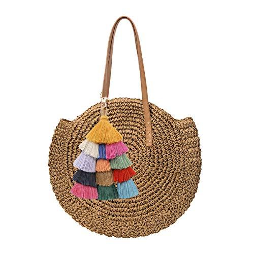 Mini Cute Damen Straw Woven Handtasche Sommer Strandtasche Tasche aus Leder Schultertasche Große Stroh Tasche mit Pompon - Stroh Und Leder Tasche
