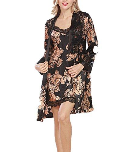 Frühling 2017 Frau Sexy Seidenpyjamas Anzug Zwei Black