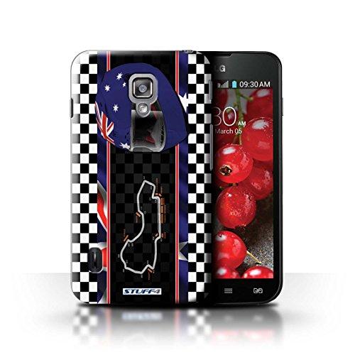 Kobalt® Imprimé Etui / Coque pour LG Optimus L7 II Dual / USA/Austin conception / Série F1 Piste Drapeau Australie/Melbourne