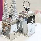 1 x Laterne Little Star Edelstahl glänzend m. Henkel Höhe 24 cm, Weihnachten, Winter, Weihnachtsdeko