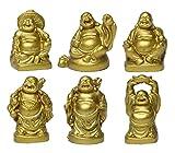 """Feng Shui 2""""Golden resina figuras de Estatua de Buda sonriente Juego de 6BS019"""