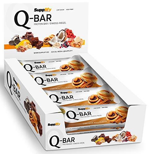 Protein Riegel Low Carb Q-Bar - Whey Isolat Proteinriegel Von Supplify Zum Abnehmen Oder Muskelaufbau - Cinnamon Roll 12x 60g - ein echter power-bar als Proteinpulver und Eiweiß Shake Ersatz -