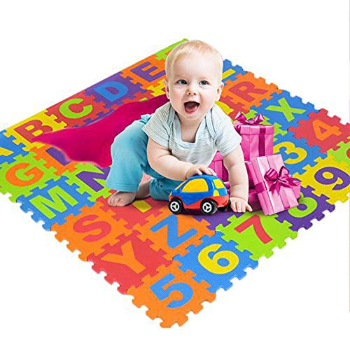 Eternitry 36 Piezas del Alfabeto Digital para niños colchoneta de Rompecabezas, Almohadilla de Juego de alfombras de Espuma de Rompecabezas Que respeta el Medio Ambiente