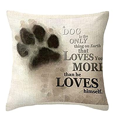 "Bluelans® Lovely Dog Pug Elk Cat Anchor Linen Square Decorative Throw Pillow Case Cushion Cover 18"" x 18"""