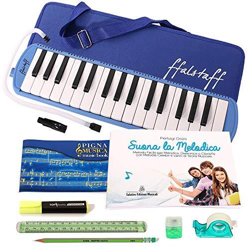 Kit melodica diamonica pianica clavietta ffalstaff tipo angel con set di cancelleria con quaderno pentagrammato, evidenziatore, matita giotto, righello, temperamatite, dispenser di nastro adesivo e metodo