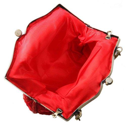KAXIDY Borsa Pochette Della Borsa Sacchetto Cerimonia Donne Eleganti Pochette Da Sera Spalla Rosso