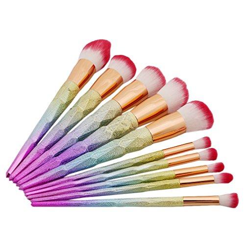 HENGSONG 10pcs Brosse de Maquillage de Brosse Poudre Contour Blush Correcteur Fondation Pinceaux Cosmétique Brosse Set Outils (Coloré)
