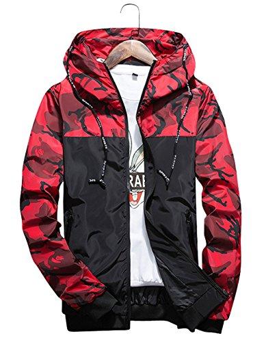 Shepretty Herren Jacke Kapuzen Frühling Herbst Windbreaker Camouflage Casual Zip-Hoodie Sportswear Laufjacke  M (Label XL) Rot