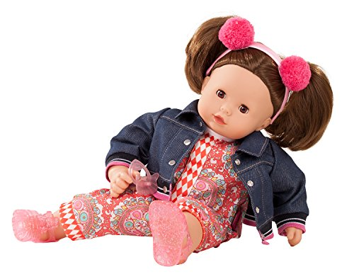 Götz 1827191 Maxy Muffin Vintage Puppe - 42 cm große Babypuppe mit braunen Schlafaugen, braune Haare und Weichkörper - Weichkörperpuppe in 8-teiligen Set