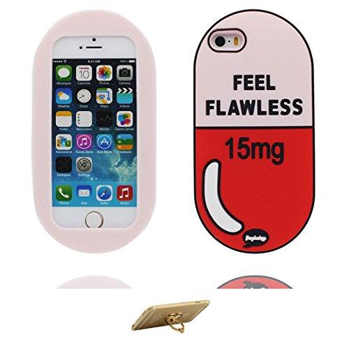 iPhone 5 Coque, Étui Cover Housse pour iPhone 5S 5C 5G, Durable TPU Rubber Skin Soft Shell iPhone SE Case, Résistant à la poussière Scratch (Cartoon 3D Bouteille de parfum) - Red Love ring Support color 1