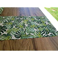 Pago Poco PAG Little Novita. Collection 2018-2019. Runner Mis.45x 140cm. Green Leaf Cotton Made in Italy.