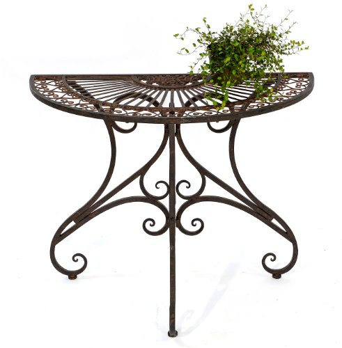 Tisch Vigo halbrund Metall dunkelbraun H 74 cm Wandtisch Beistelltisch