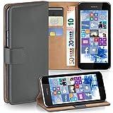 moex Nokia Lumia 530 | Hülle Dunkel-Grau mit Karten-Fach 360° Book Klapp-Hülle Handytasche Kunst-Leder Handyhülle für Nokia Lumia 530 Dual SIM Case Flip Cover Schutzhülle Tasche