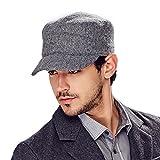 Kenmont automne hiver des hommes de laine couleur unie de golf visière cadets bouchon chapeau militaire (gris)