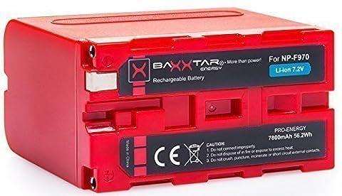 BAXXTAR PRO ENERGY Batterie de qualité pour Sony NP-F970 (7800mAh) avec Info Chip - Système de batterie intelligent