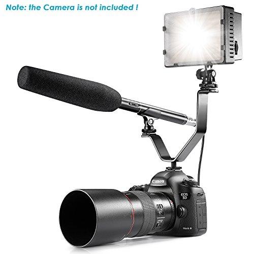 'Neewer® 36cm/36CM uni-directional sistema condensatore shotgun intervista microfono + V forma doppia staffa di montaggio + 160LED dimmerabili luce video per Canon Nikon Olympus Pentax Panasonic e altre Hdslrs - Inoltre Pickup