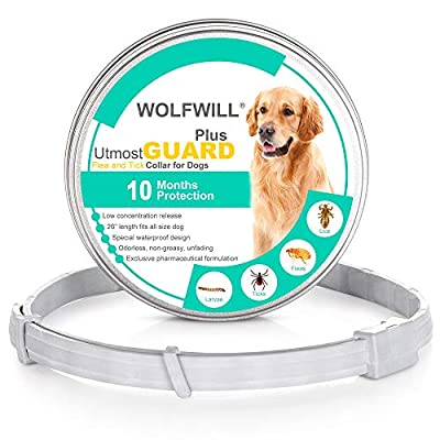"WOLFWILL Flea and Tick Collars for Dogs, Upgrade PLUS Waterproof Dog Anti Flea Collar, 10 Month Protection, Adjustable 26"" Super Length fits for Small Medium Large Pets by WOLFWILL"