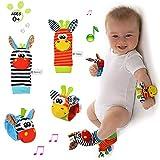 XZPP Neonato Sonagli Baby Rattle Toys, 4 Pz Velluto Calzini Polso Sonagli Bracciale Polsi di Simpatici Animaletti Set per Bambini Piedi, Peluche Giocattoli Bambole Sviluppo Educativo