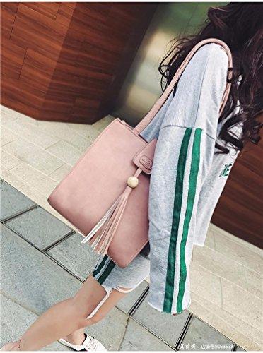 Die Neue Koreanische Mode Handtaschen Retro - Casual Tassel Handtasche Umhängetasche Alle Mit Einfachen Charakter,Gray pink