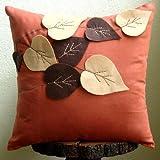 Spring Leaves - Decorativa Funda de Cojin 50 x 50 cm, Square Rust Suede Apliques de Fieltro