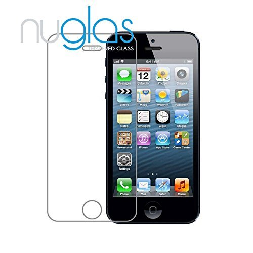 Nuglas iPhone 5 5S SE 4,0 Zoll Premium Panzerglas-Folie Screen Protector Panzerfolie Displayschutzfolie Tempered Glass Schutzfolie Schutzglas 9h ultra-slim Echtglas transparent 0,3mm