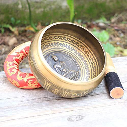Relax And Relieve Stress Percussion Tibetische Klangschale Set Aus Nepal Mit KlöPpel Und Kissen Silent Mind Tibetische Ideal FüR Achtsamkeit 10.5cmx5.5cm