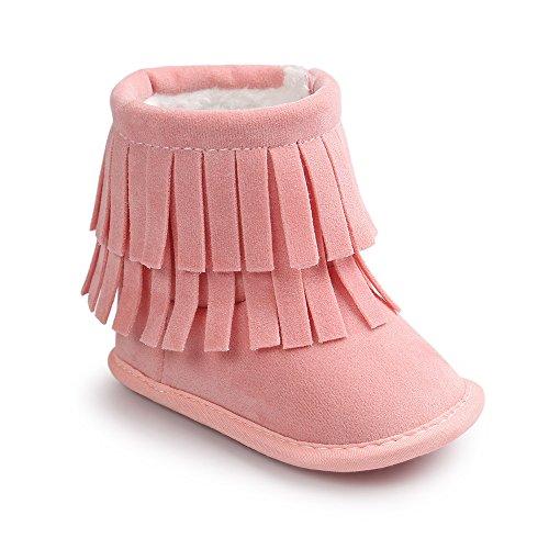 Mädchen Für Rosa Cowboy-stiefel (Estamico Kleinkind Baby Jungen Mädchen Winter Warme Weiche Sohle Quaste Schnee Stiefel Mokassins Schuhe Hellrosa 12-18 Monate)