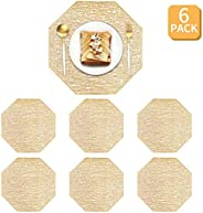 6 Pieces Gold Octagon Placemats Laminated Vinyl Dining Table Decorative Placemat Non-Slip Insulation Placemat