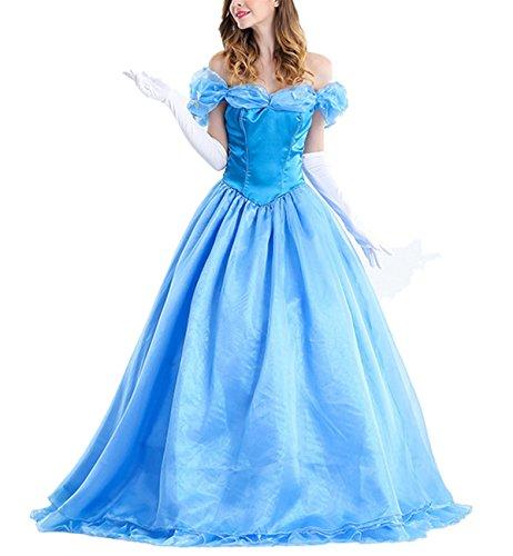Beunique® Blaue Prinzessin Kleid Damen Spitze Kleid Ladies Weihnachten Verkleidung Karneval Party Halloween (Womens Barbie Kostüme Halloween)
