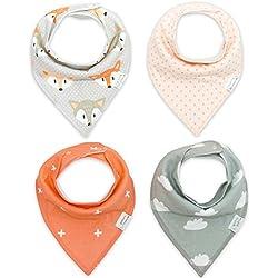 CuteOn Bebé baberos 4-Packs Impreso Absorbent Algodón para Unisexo Bebé un tamaño tnz010 One Size