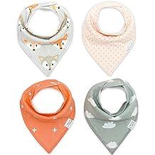 CuteOn Bebé baberos 4-Packs Impreso Absorbent Algodón para Unisexo Bebé un tamaño
