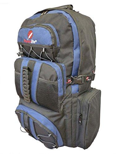 Roamlite zaino da campeggio grande unisex- 50 a 55 litri leggero, perfetto come bagaglio a mano. perfetto per escursionismo, viaggio e vacanze. dotato di varie tasche e scomparti. colore nero blu