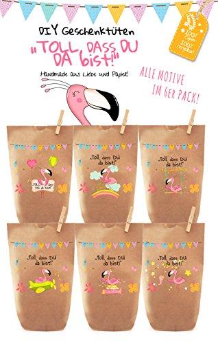 6x bunte FLAMINGO PARTY Geschenktüten – Tüten liebevoll bedruckt aus Kraftpapier, zum Verpacken von Geschenken, Gastgeschenken, Mitgebsel, Giveaways, Kindergeburtstag, Hochzeit. 100% recyclebar!