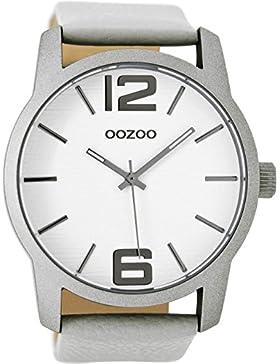 Oozoo Herrenuhr mit Lederband 48 MM Weiss/Grau C9085