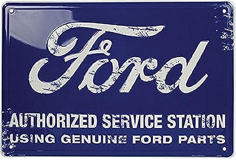Autorisé par Ford Station Service signe étain bleu 30,5x 45,7cm