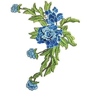 Milopon Ecusson Brod/é Patch Fleurs Broderie D/élicat Autocollant pour Correctifs Couture DIY Tissu Bleu