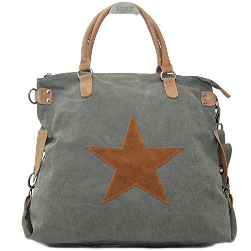 Vain Secrets Sternen Shopper Damen Handtasche mit Schulterriemen Grau