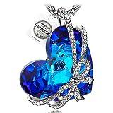 Pauline & Morgen Cadeau amour Collier avec Pendentif Femme cristaux de Swarovski bleu coeur cadeau anniversaire No?l saint valentin fete des meres maman cadeaux de mariage