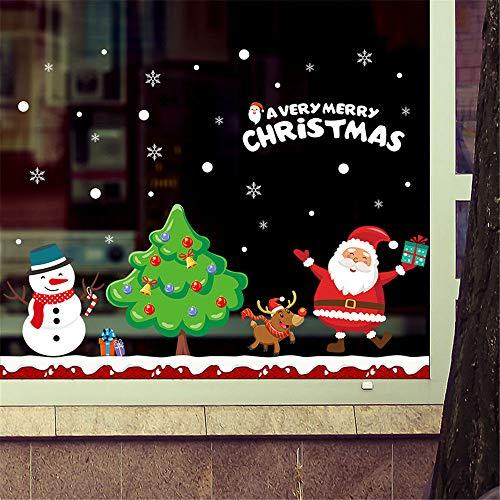 GKOO Weihnachten Wandaufkleber,Xmas Tree Schneemann Santa Claus Muster Abnehmbare wasserdichte Wand Aufkleber Shop Fenster Neues Jahr Party Kunst Abziehbilder Für Home Vinyl Wohnzimmer Dekorationen -