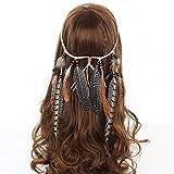 AWAYTR Hippie Feder Beflockung Perlen Weben Stirnband Quaste Beige Kopfschmuck Haarband -