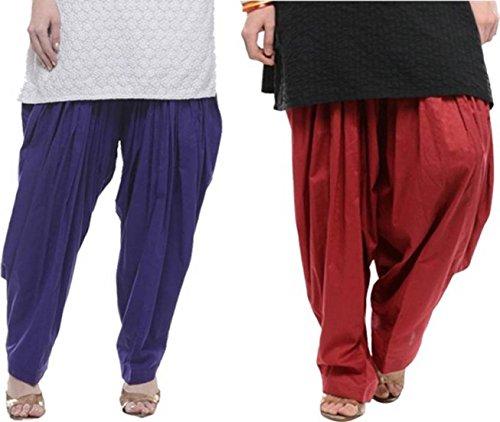 I Shop Traditional Patiala Salwar 100% Cotton Free Size COMBO-02(BLUE_MEHROON)